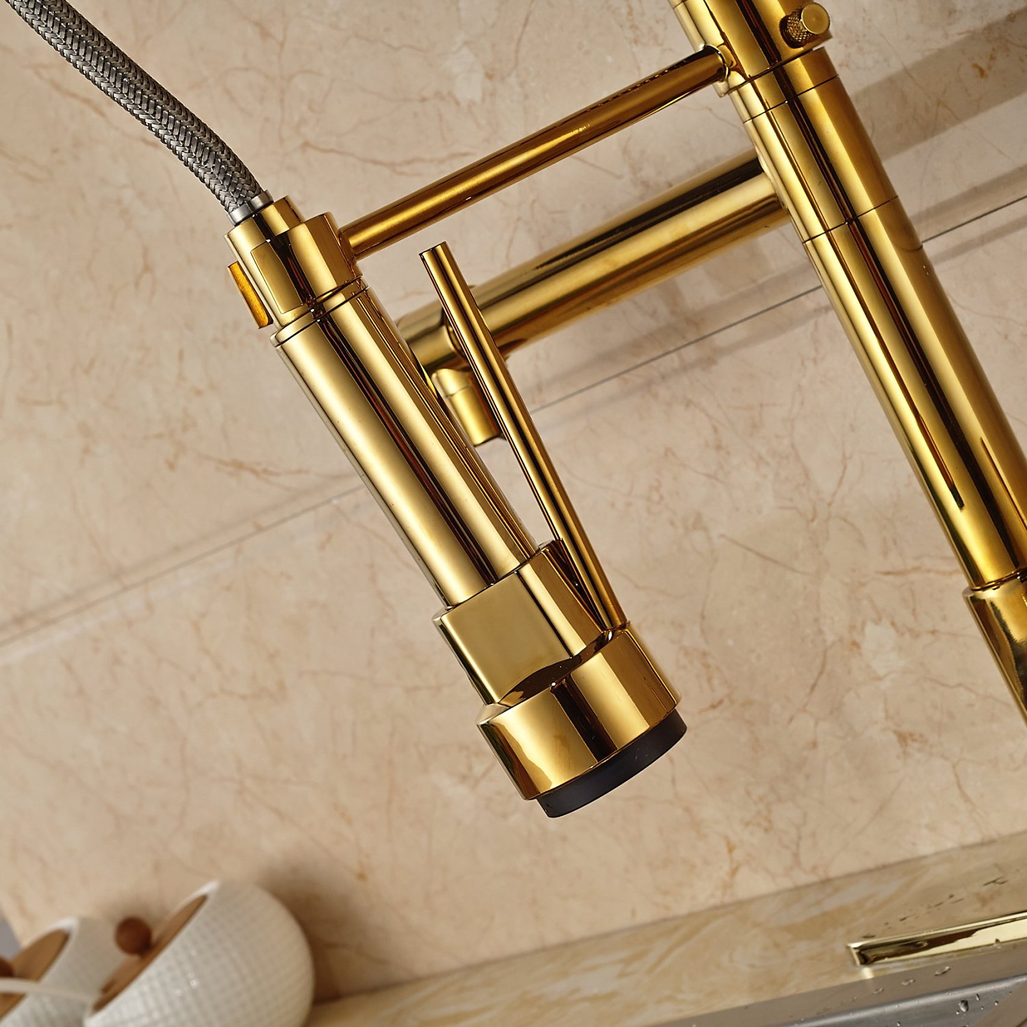 fsrks kitchen faucet pull down Curitiba Deck Mounted Gold Finish Kitchen Sink Faucet with Pull Down Sprayer