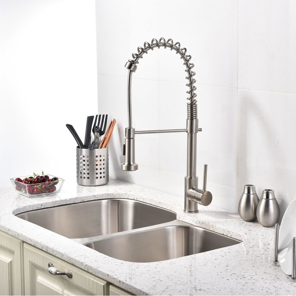 fsbmc brushed nickel kitchen faucet Quilmes Brushed Nickel Kitchen Sink Faucet with Pull Down Sprayer