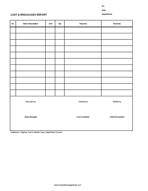 food and beverage forms