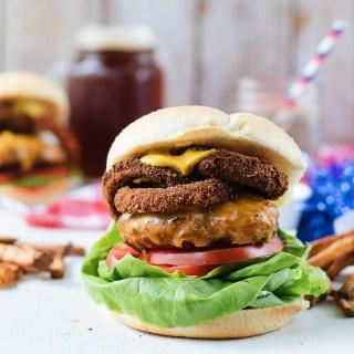Cheddar Onion Ring Burger - The Food Gays