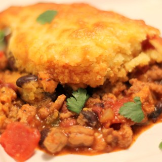 Turkey Chili Cornbread Pie