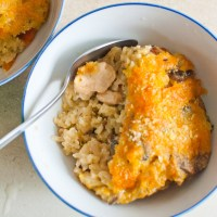 Cheesy Mushroom and Chicken Baked Rice