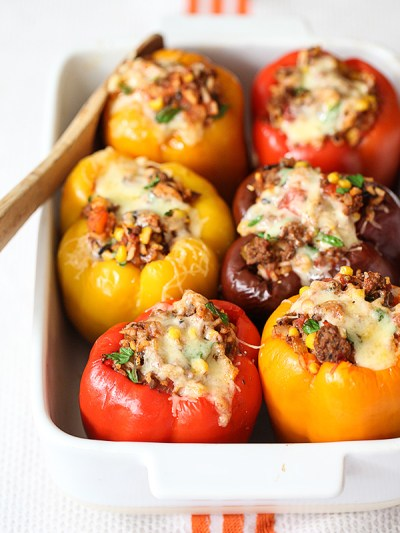 Stuffed Bell Peppers With Ground Beef Recipe   foodiecrush.com