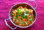 Indian Green Peas and Cottage Cheese in Red Gravy. Matar Paneer Curry.