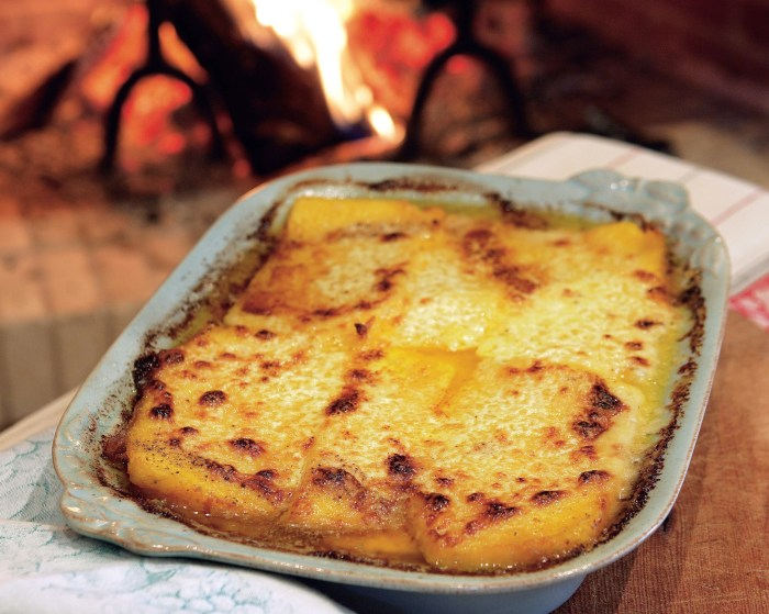 Polenta pasticciata recipe a messed up polenta food republic - Baked polenta cheese recipes ...