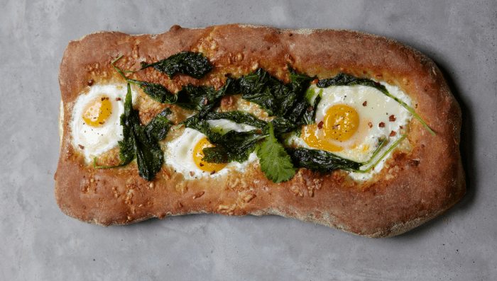 Mustard Greens, Cheddar And Farm Egg Breakfast Pizza Recipe