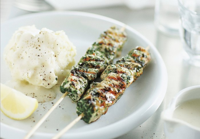 Herbed Fish Skewers With Smashed Potatoes And Skordalia Recipe