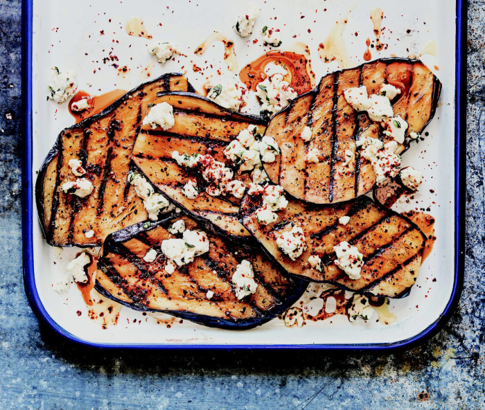 Grilled Eggplant With Feta And Pomegranate Molasses Recipe