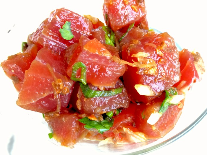 Poke fun all you want. We'll be enjoying this super easy poke. (Photo: Jason Kessler.)