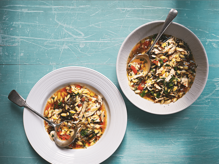Chicken Soup With Orzo, Shredded Grape Leaves, Tomatoes, Lemon And Herbs Recipe