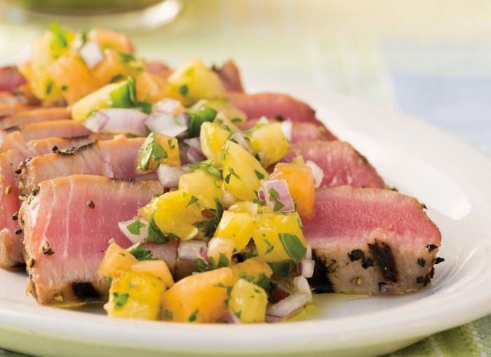 Peppered Ahi Tuna With Spicy Cantaloupe Salsa