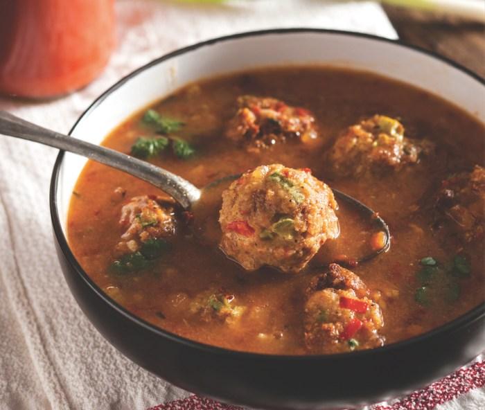 Pork and chorizo meatballs with pozole broth recipe food republic forumfinder Gallery