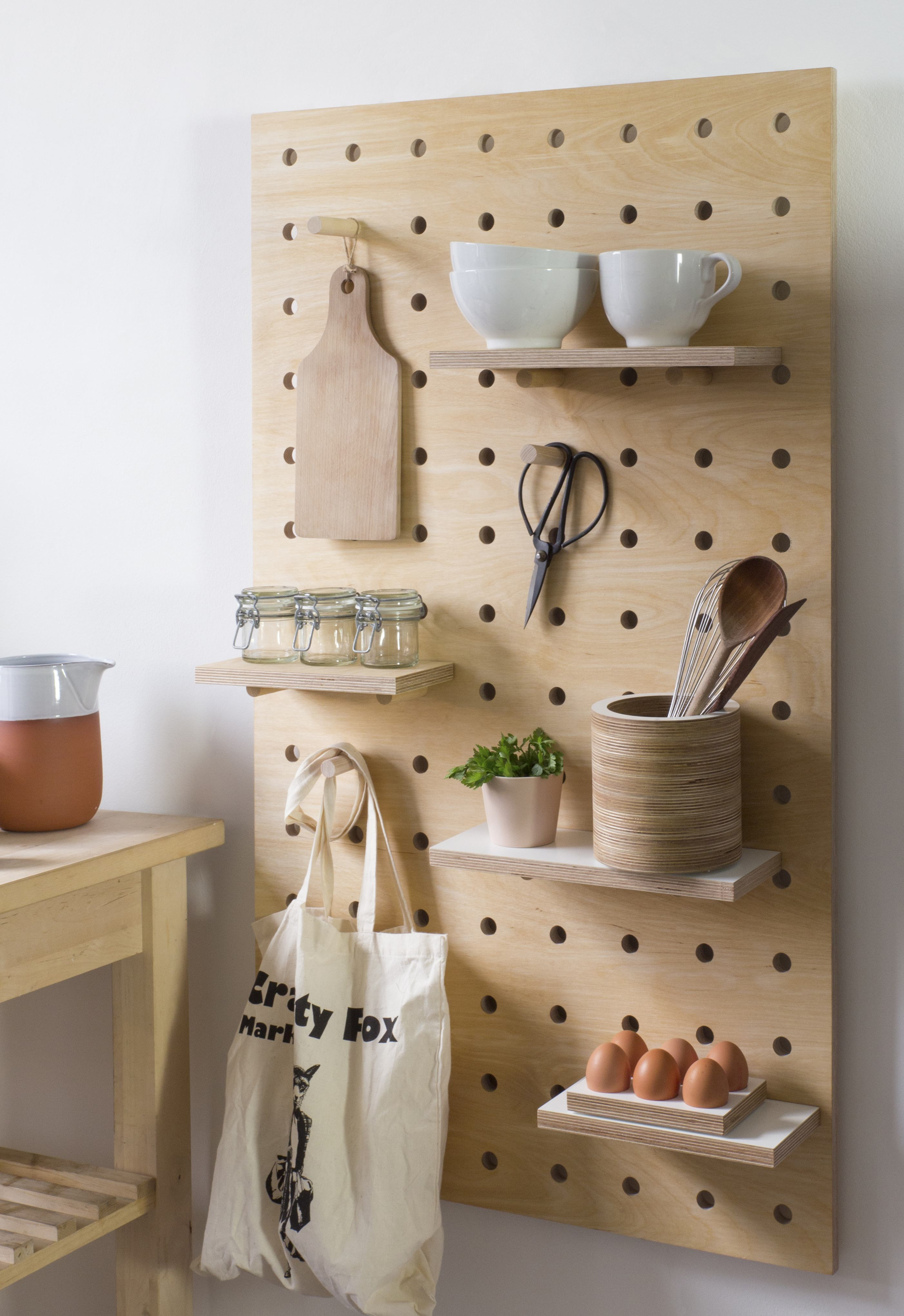 Designer Nikki Kreis Of Kreisdesign Created A Sturdier, Slightly Chunkier  Riff On The Fail Safe Kitchen Pegboard Using Thicker Cuts Of Plywood, ...