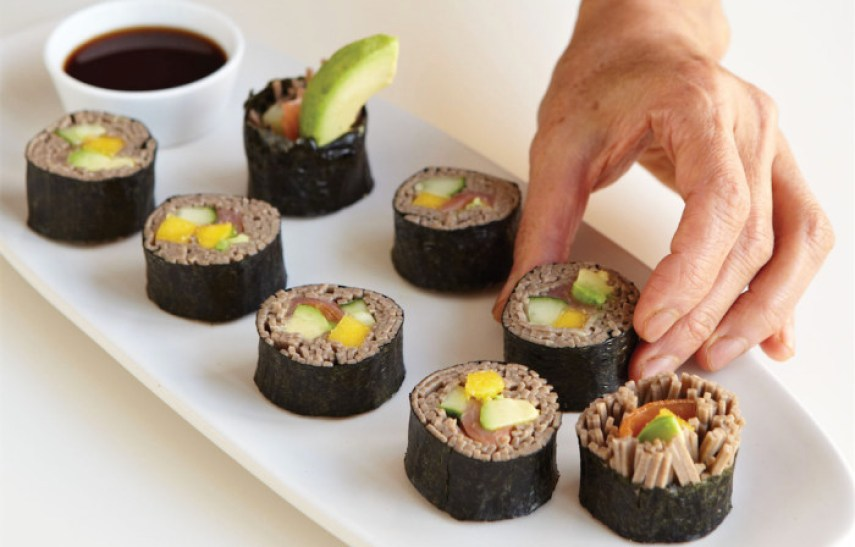 Replace rice with soba noodles in this eye-catching maki recipe