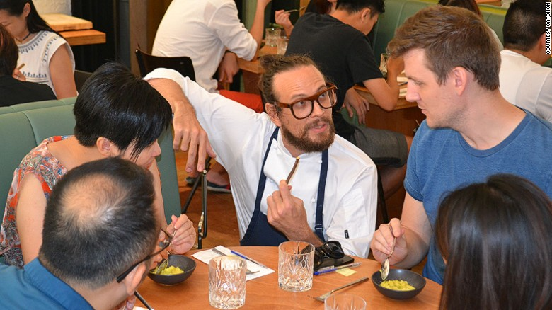"""""""Chef"""" Charles Pelletier in the midst of tricking diners into thinking an inferior dish is superb. (Photo courtesy of CatchOn.)"""