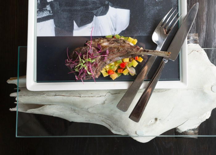 "Local artist Larry Swan created ceramic trays and glass and cow skull platters for ""O'Keeffe's Table"" at Eloisa in Santa Fe. (Photo credit: Gabriella Marks Photography)"