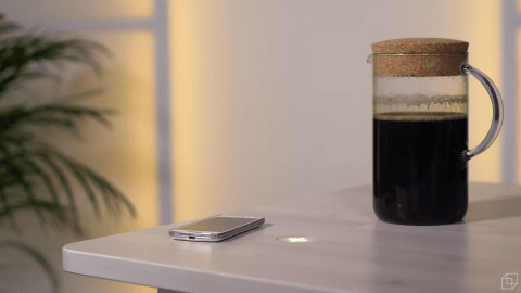 The future could include your coffee charging your phone through heat. (Photo: screenshot/YouTube.)