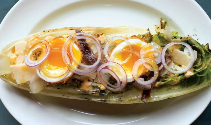 Pair a smoky grilled romaine wedge with homemade Caesar, runny eggs and a spicy kick with your favorite beer or wine.