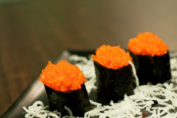 What are the different types of fish eggs in japanese for Fish eggs food