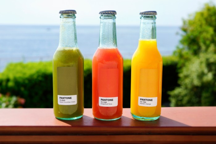 Cold-pressed juices are featured on the menu.