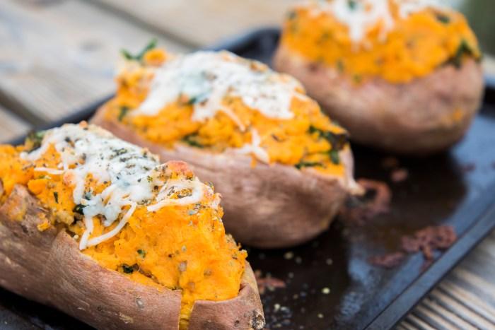 Twice Baked Italian Sausage, Corn, Feta & Kale Sweet Potatoes