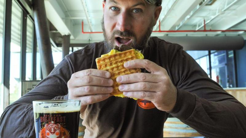 Dogfish Head's Beer for Breakfast Stout pairs great with a waffle and egg sandwich. (Photo: Dogfish Head/Facebook.)
