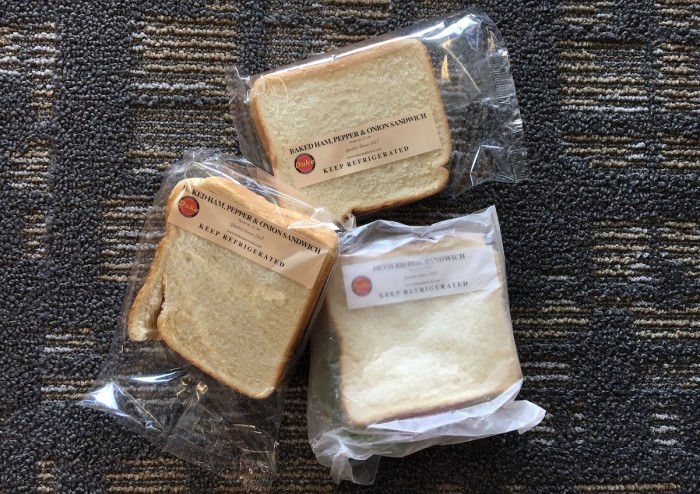 Made of nothing more than a thin layer of spread and white bread, Duke's sandwiches are cheap, humble, and nostalgic. (Photo credit: Katie Chang)