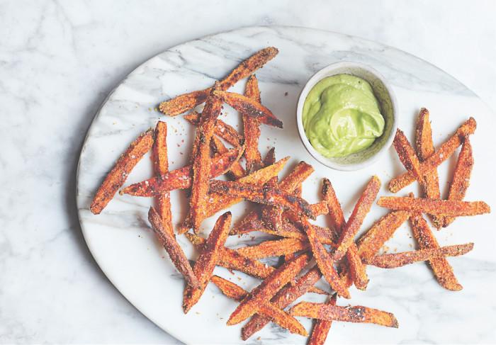 Sweet potato fries with avocado
