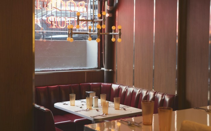 The dark room was converted to an airy chrome and tile luncheonette that's pleasingly retro.