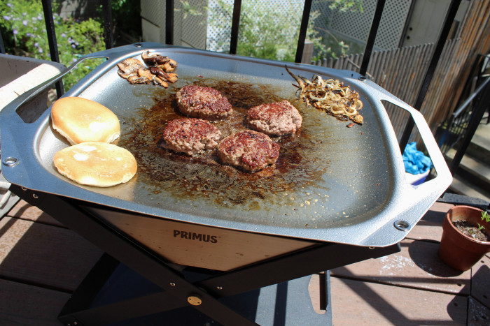Primus' Kamoto OpenFire Pit and OpenFire Pan are the perfect alternatives for backyard burger making. (Photo: Tiffany Do.)