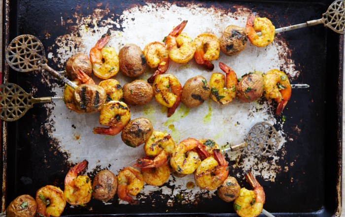 Shrimp And Potato Kebabs