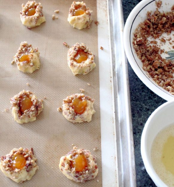 Peach Pecan Thumbprints with Brown Butter Glaze