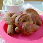 Pink Ribbon Beet Pretzels with Brown Butter Cream Cheese