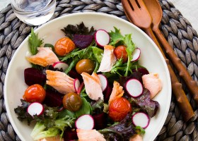 Salmon, Radish and Roasted Tomato Salad