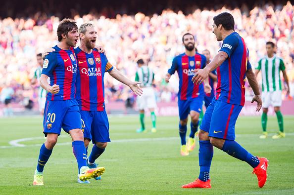 بارسلونا6-2بتیس؛ تحقیر بتیس در شب آتش بازی مسی و سوارز