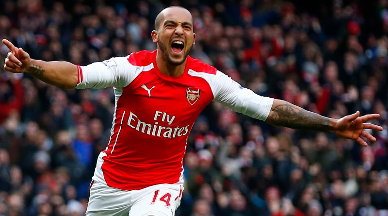 Arsenal's Theo Walcott celebrates his goal against Aston Villa during their English Premier League soccer match at the Emirates Stadium in London, February 1, 2015.                   REUTERS/Eddie Keogh (BRITAIN  - Tags: SOCCER SPORT) EDITORIAL USE ONLY. NO USE WITH UNAUTHORIZED AUDIO, VIDEO, DATA, FIXTURE LISTS, CLUB/LEAGUE LOGOS OR 'LIVE' SERVICES. ONLINE IN-MATCH USE LIMITED TO 45 IMAGES, NO VIDEO EMULATION. NO USE IN BETTING, GAMES OR SINGLE CLUB/LEAGUE/PLAYER PUBLICATIONS.FOR EDITORIAL USE ONLY. NOT FOR SALE FOR MARKETING OR ADVERTISING CAMPAIGNS.   - RTR4NS5N