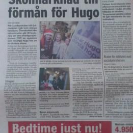 2007. Hugo & Pelle Rittgård i tidningen Folket. Lundbyskolan i E-a hade en julmarknad och pengarna gick till FOP forskningen.