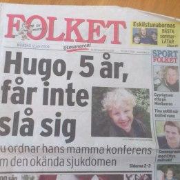 2004. Hugo framsidan på tidningen Folket.