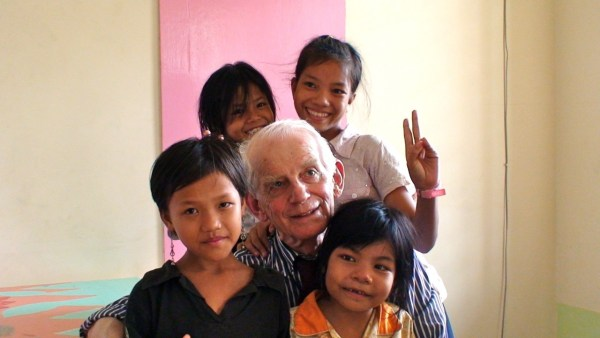 Prof Billson with Cambodian Children 2012