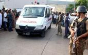epa05441878 An ambulance carries bodies of army soldiers who were killed in target killing incident, to hospital in Karachi, Pakistan, 26 July 2016. Two army soldiers were killed when unknown gunmen opened fire at their vehicle in Karachi.  EPA/SHAHZAIB AKBER