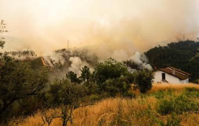 epa06038970 The smoke of a nearby fire rises near houses in the village of Sandinha, in the municipality of Gois, Portugal, 20 June 2017. The fires that have been plowing the region since 17 June worsened earlier on 20 June and already forced authorities to order the evacuation of three villages. At least 64 people have been killed in the forest fires in central Portugal, with many of them being trapped in their cars as flames swept over a road on the evening of 17 June 2017.  EPA/PAULO NOVAIS