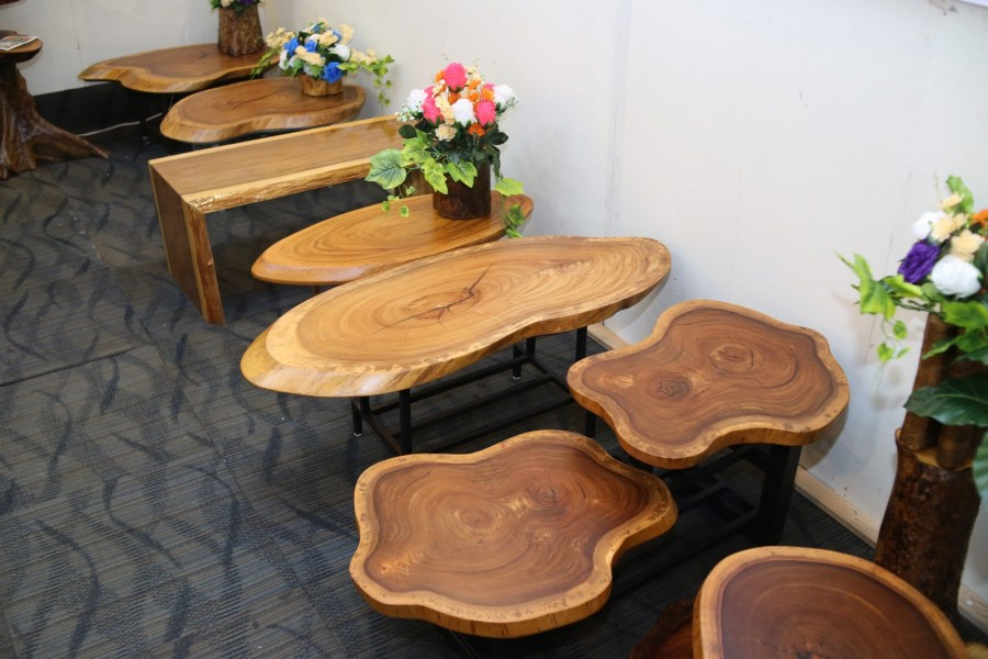 Locally made timber tables