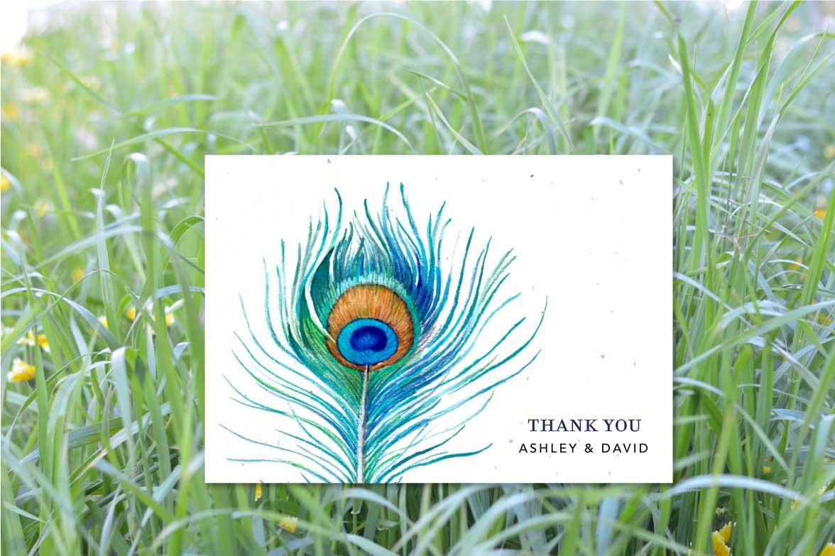 delicate peacock thk pl plantable wedding invitations Organic Thank you notes Peacock