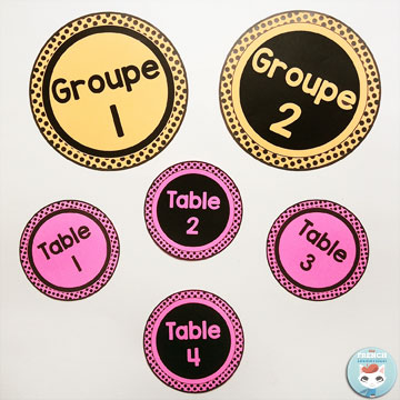 French Classroom Decor Polka Dots: table/group number cards. A beautifully-decorated French classroom with little to no color ink use! B&W table number cards – print them on colorful paper for a striking effect!