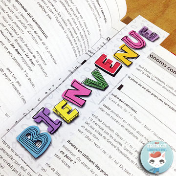"French Back-to-school Resources: blog post with links to tons of FREE printables, videos for ""la rentrée scolaire"", and much more! (image: FREE Bienvenue! bookmarks)"