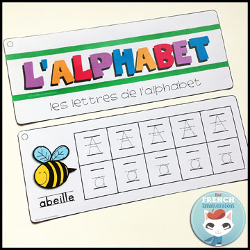 French Alphabet Centers - writing practice strips: tracing uppercase and lowercase letters, one letter per page with support from illustrations. Centres de littératie - l'alphabet.