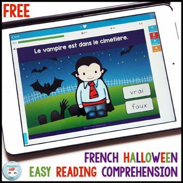 French Halloween Freebies and Videos: free reading comprehension digital task cards (Boom Learning) – en français