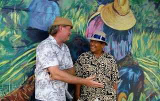 Plein air painter Fred Tangalin (r) with Mark Jeffers (l)