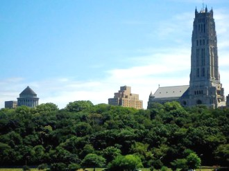 Grant's tomb and the Riverside Church from the Hudson
