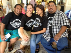 Photo op at Honolulu Airport. L-R: Loren Rendon, Nohili Grossman, Natasha Arruda, Doric Yaris